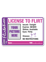"License To Flirt Button 2"" x 3-3/8"""