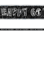 Birthday Glitz Black & Silver 60th Birthday Prism Banner