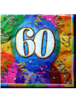 60th Birthday Jubilee Party Napkins Contains 16 three-ply napkins