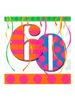 60th Balloon Bright Birthday Party Napkins