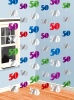 Hanging String Decorations 50 - Numeral 50 - Pack of 6 (Quantity 1)