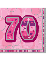 Birthday Glitz Pink - 70th Birthday - Luncheon Napkins