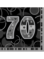 Birthday Glitz Black & Silver 70th Birthday - Luncheon Napkins