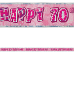 Birthday Glitz Pink 70th Birthday Prism Banner