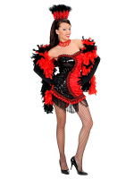 BLACK/RED VEGAS SHOWGIRL (DRESS HEADPIECE)