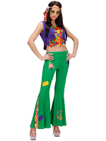 WOODSTOCK HIPPIE GIRL (TOP VEST PANTS HEADBAND)