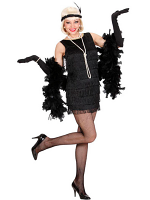 Deluxe Black Flapper Dress  (Dress, Gloves, Headband)