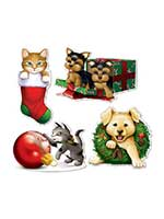 Christmas Puppy & Kitten Cardboard Cutouts