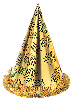New Year Cone Hat with Tinsel Fringe - Gold