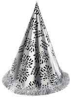 New Year Cone Hat with Tinsel Fringe - Silver