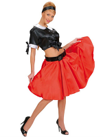 RED SATIN SKIRTS W/SEWN-IN PETTICOAT