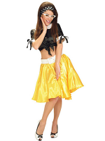 YELLOW SATIN SKIRTS W/SEWN-IN PETTICOAT