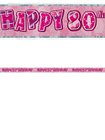 Birthday Glitz Pink 80th Birthday Prism Banner