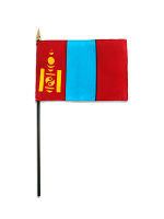 "Mongolia medium hand flag 9"" x 6"""