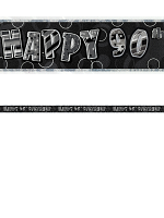Birthday Glitz Black & Silver 90th Birthday Prism Banner