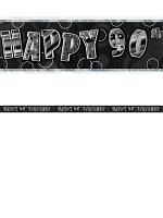 Birthday Glitz Black & Silver 90th Birthday Prism Banner