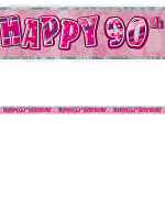 Birthday Glitz Pink 90th Birthday Prism Banner