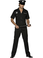 Cop Costume In Black With Top, Trousers And Hat