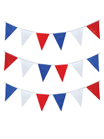 Bunting  Triangular Red - White & Blue