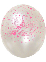 Balloons 'JUST MARRIED' Pink And See Through 12""