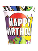 Balloons Birthday Party Cups - 8 per pack