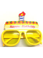 Birthday Cake Glasses With Candle - Yellow