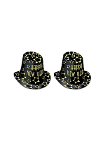Black and Gold Happy New Year Cardboard Top Hat - 10