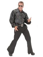 Blk Sat & Velv Shirt W/Sequins Mens