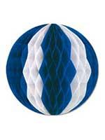 Blue & White Tissue Ball Garland