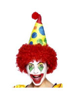 Clown Hat Yellow,Blue,Green And Red With Red Wig