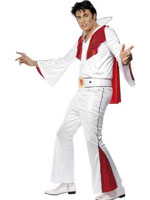 Elvis Costume - White And Red - Shirt - Trousers - Cape And Belt Large