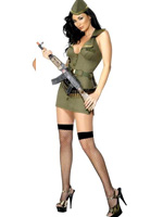 Fever Major Fling Costume, Khaki Green With Dress, Belt And Hat