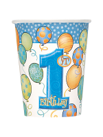 First Birthday Blue Cups 9""
