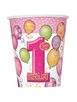 First Birthday Pink Cups 9""