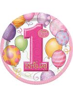 "First Birthday Pink Plates 9"""