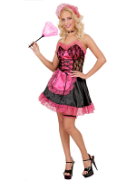 French Maid Satin/Lace Pink/Black (Dress Hat Garter Choker)