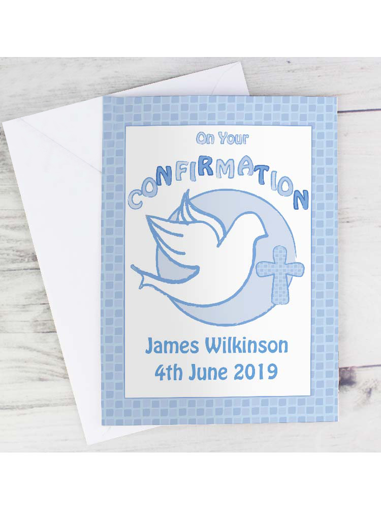 Personalised Confirmation Card-Blue
