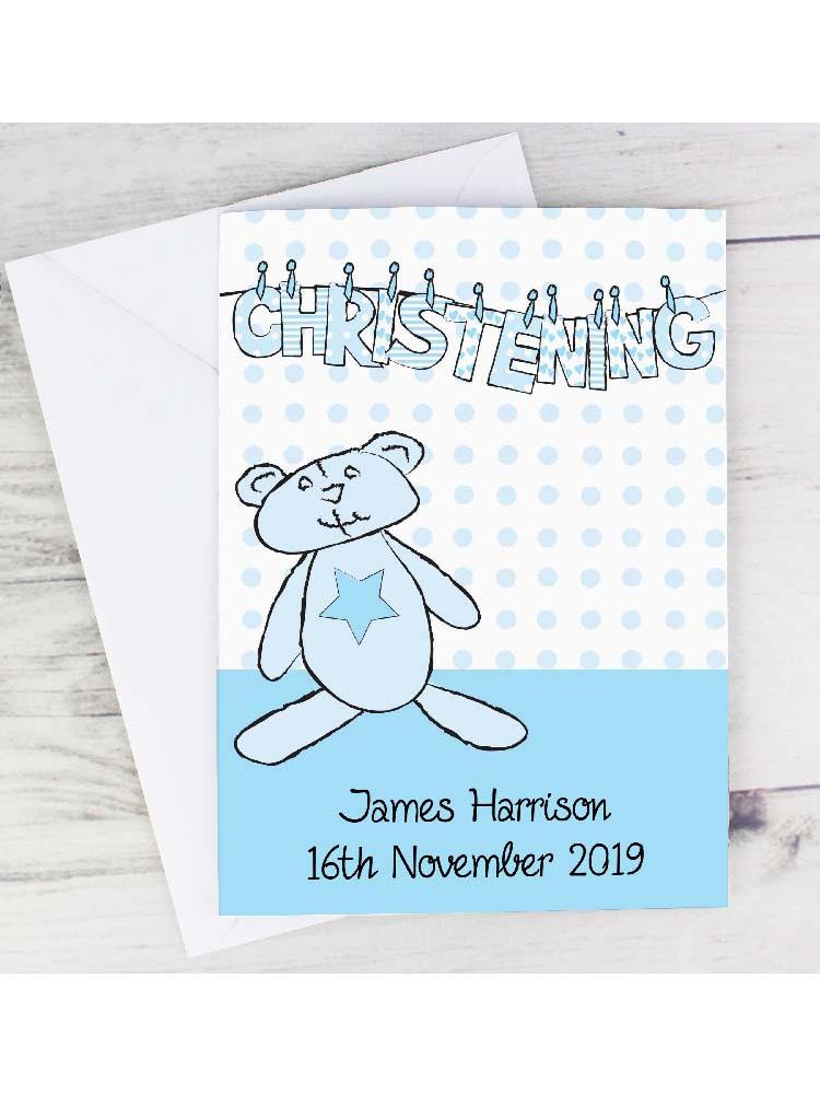 Personalised Boy Christening Wash Line Card