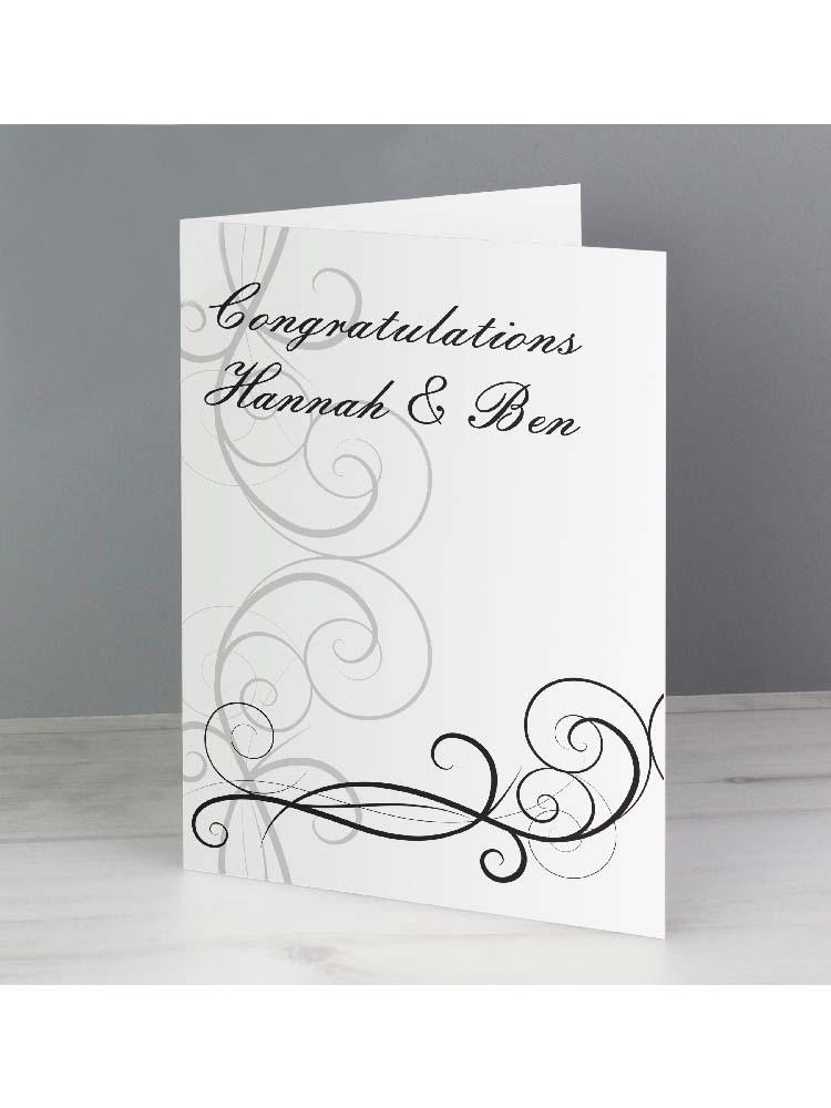 Personalised Black Swirl Wedding Card