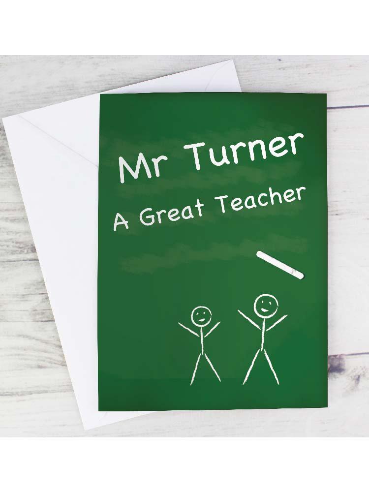 Personalised Teachers Pet Chalk Board Card