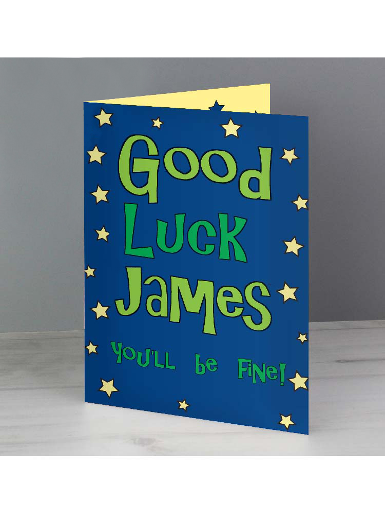 Personalised Good Luck Blue Star Card