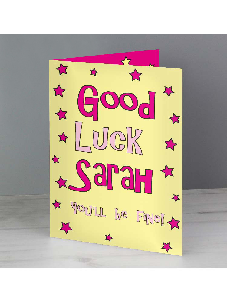 Personalised Good Luck Pink Stars Card