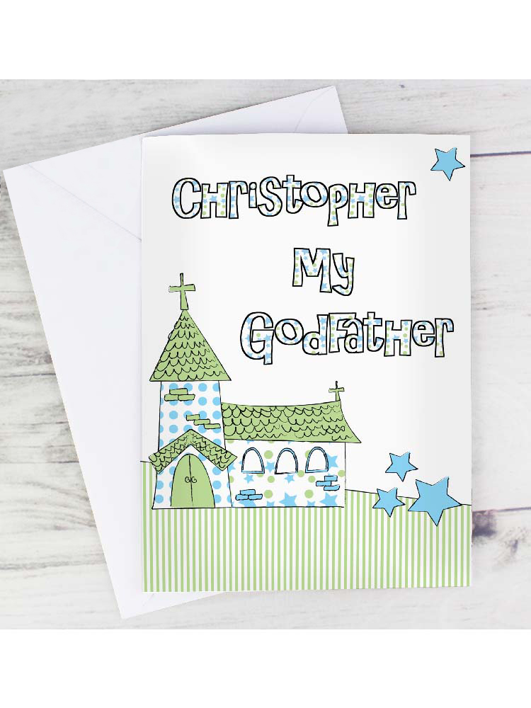 Personalised Blue Church Godfather Card
