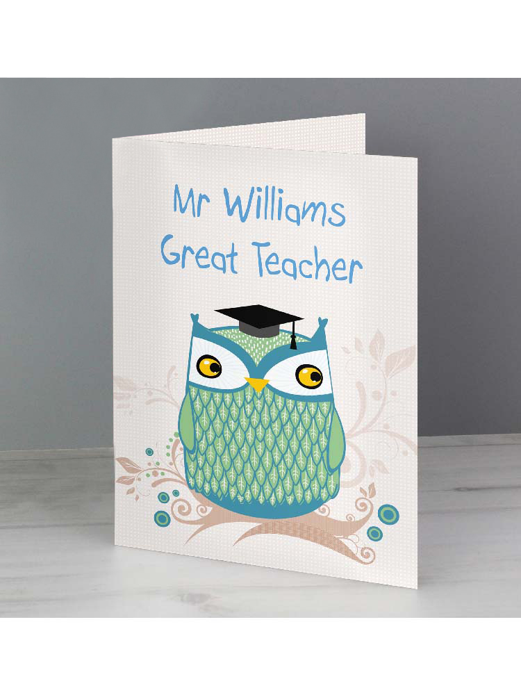 Personalised Mr Owl Teacher Card