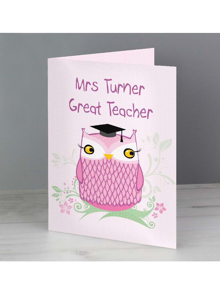 Personalised Miss Owl Teacher Card
