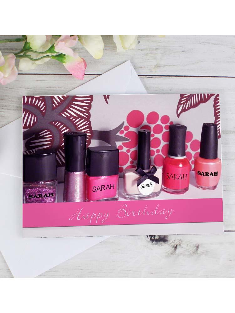 Personalised Row of Pink Nail Polish Card