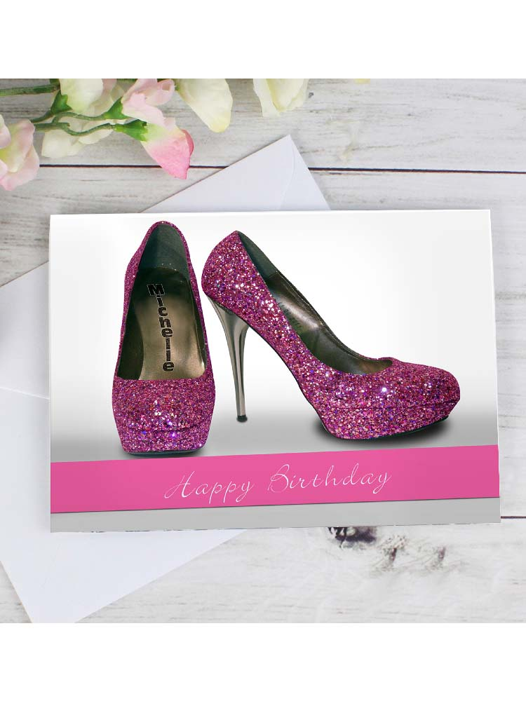 Personalised Sparkly Pink Shoes Card