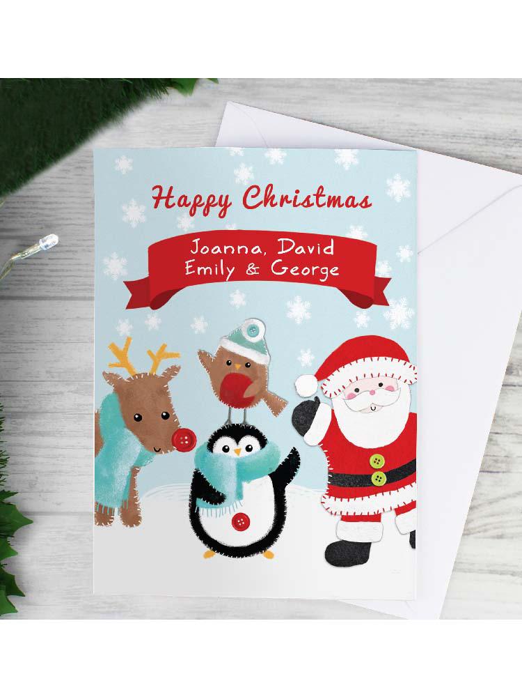 Personalised Felt Stitch Friends Christmas Card