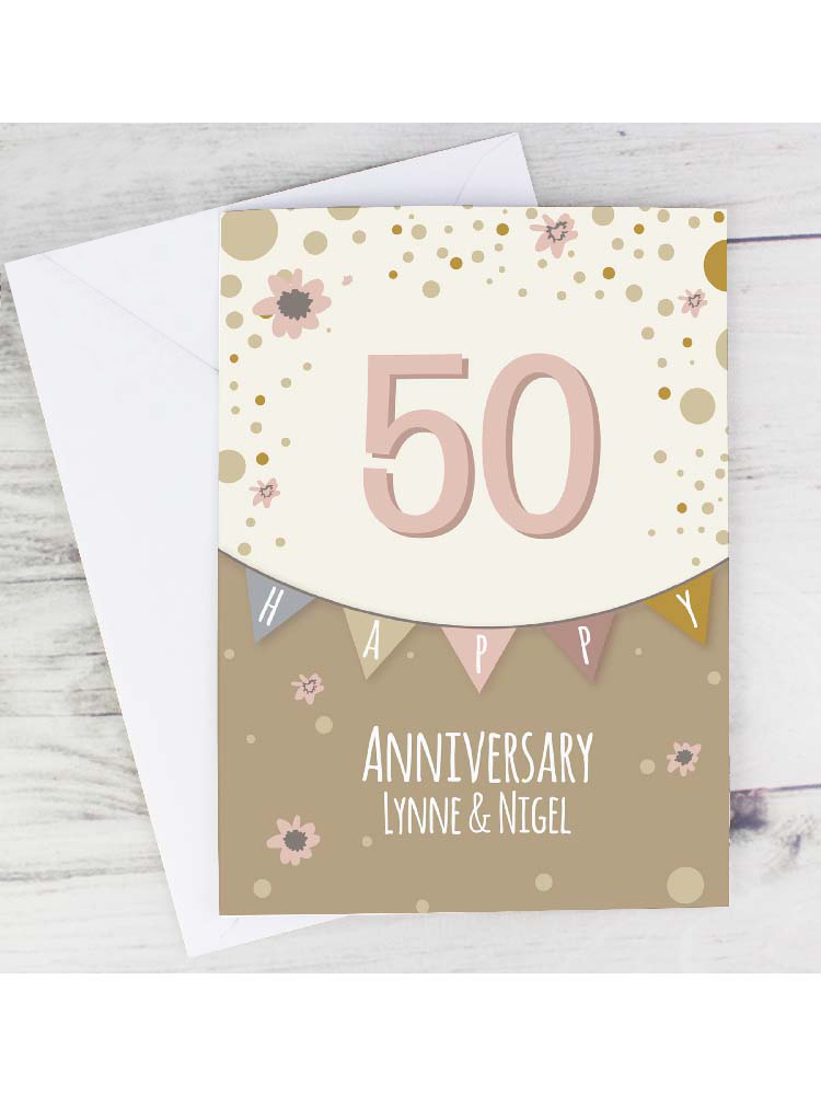 Personalised Rose Gold Bunting Card