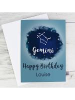 Personalised Gemini Zodiac Star Sign Card (May 21st - June 20th)